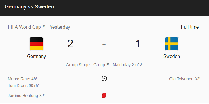 Germany Wins The FIFA Match Against Sweden