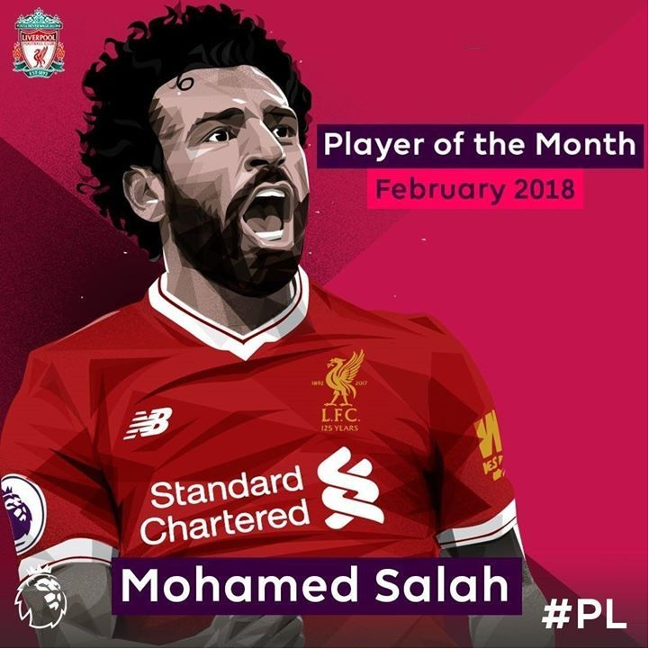 2018 February EPL Player of the Month Mohamed Salah