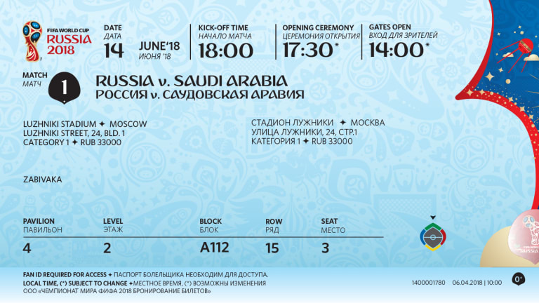 FIFA 2018 New Tickets Designed